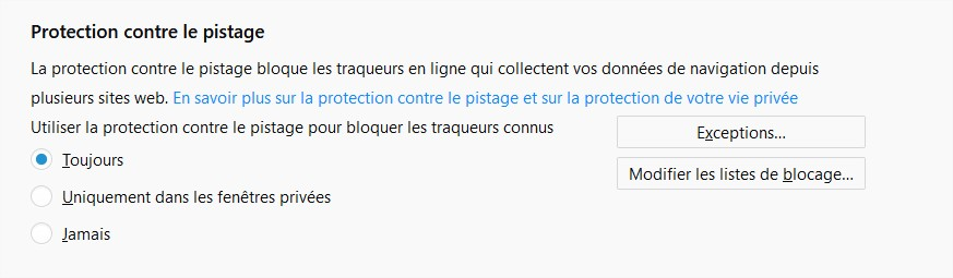 Protection contre le pistage FireFox